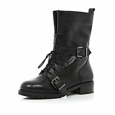 Black lace up biker boots