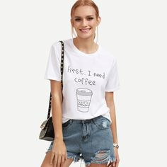09e676cd7 2017 Summer Shirt Women Fashion first ineed coffee Letter Print Short Sleeve  T-Shirt Loose White Sh