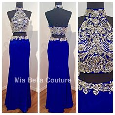 Check out Jovani 20370 at www.miabellacouture.com. Available in Royal, Blush and Black. mia bella couture. jovani. jovani fashions. 20370. jersey. embellished. crop top. skirt.