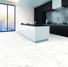 Marble is a classic look for any home. Create a timeless classic kitchen a classic Carrara marble-look tile on floor, and a matching wall tile in a different size. Alternatievely, mix and match with white metro tiles. Marble Look Tile, Carrara Marble, Timeless Classic, Classic Looks, Metro Tiles, Wall Tiles, Double Vanity, Design Trends, Flooring