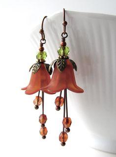 Fleur Orange safran boucles d'oreilles rouille tomate par ShySiren
