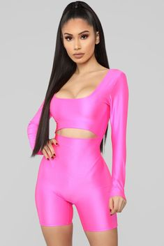 311640dd4b33 Get To The Point Romper - Neon Pink