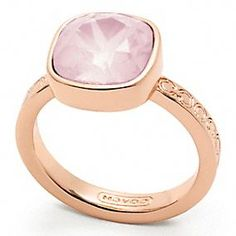 Coach Square Stone Ring in Rose Gold/Pink