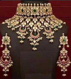 INDIAN BOLLYWOOD CHOKAR WEDDING WEAR POLKI KUNDAN ETHNIC STYLE NECKLACE SET 01