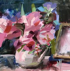 Pink Peonies in Pitcher Original Floral Still Life Oil Painting by Angela Moulton pre-order