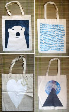 screen-printed totes : Thinking about doing this.....i wonder if people would buy them O.o