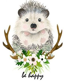 Erizo de acuarela bosque vivero pinturas de animales erizo