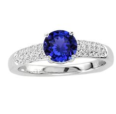 925 Sterling Silver Ring Natural Tanzanite Faceted Cut 6mm Round with Beautiful White Topaz Round - Natural Tanznaite Ring