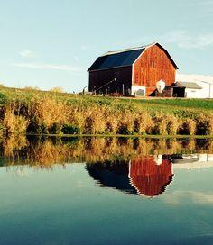 Fall photo- barn over water