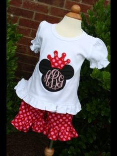 Girlie Mouse Princess Monogrammed Tee and shorts by gigibabies, $38.00