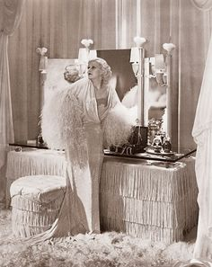 1920s deco detail - satin, bullion fringe, mirrors