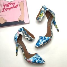 """Jeffrey Campbell """"Solitaire"""" Pump in Digital Print D'orsay style leather pump with pointed toe and tiny toe platform. Ankle strap is adjustable with Velcro closure. Amazing blue digital print. 0.5"""" platform, 4.5"""" heel height. Worn twice. Excellent condition. As seen on itsbecauseithinktoomuch.com! My price is firm. No trades. First come, first served. Happy to bundle! Thank you! :) Jeffrey Campbell Shoes"""