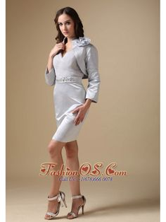 Simple Sliver Mother Of The Bride Dress Column V-neck Elastic Woven Satin Beading Knee-length- $152.89http://www.fashionos.com  http://www.facebook.com/quinceaneradress.fashionos.us  This elegant short formal dress is appropriate for any formal occasion. A stunning knee length strapless dress that doesn't sacrifice elegance for sensuality. It features a sweetheart neckline and a ruched bodice.
