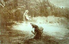 Hulder appearing as milkmaid. Theodor Kittelsen