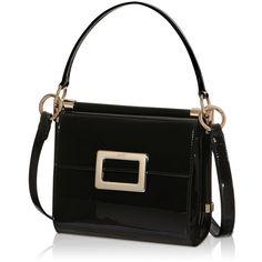 Roger Vivier - Miss Viv Mini Shoulder Bag in Patent Leather (35864495 BYR) ❤ liked on Polyvore featuring bags, handbags, shoulder bags, black, buckle purses, patent leather purse, shoulder hand bags, mini purse and patent leather shoulder bag