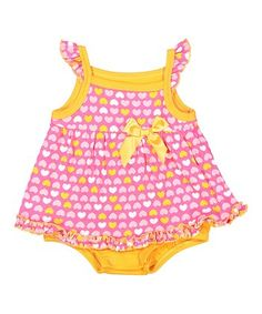 Pink & Orange Hearts Dress & Bloomers - Infant