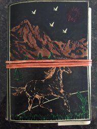 73% off Rustic Town Handmade Leather Journal Diary Notebook Poetry Horse Mountain Embossed