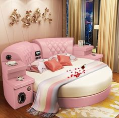 Petalsfashionz New Round Bed Double Bed Wedding Bed – PetalsFashionz Cute Bedroom Ideas, Cute Room Decor, Girl Bedroom Designs, Bedroom Sets, Bedroom Decor, Bedding Sets, Round Beds, Cool Beds, Dream Rooms