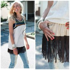 Shirt Extender-slip on brown fringe!