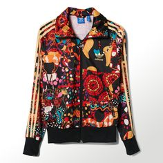 Vibrant Brazilian rhythms and folk dances are the inspiration behind the print on this women's Maracatu Firebird Track Jacket. This piece is designed in collaboration with the Brazilian company FARM, a label known for its tropical patterns and technicoloured prints. The heritage jacket features authentic details like a stand-up collar, ribbed cuffs and hem, and 3-Stripes down the sleeves. Finished with an embroidered Trefoil in back.