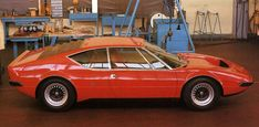 Full side view of the second Lamborghini Urraco prototype, note the integrated rear wing ...