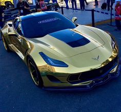 GOLD CORVETTE: 2015 model painted totally Gold sans, accents!