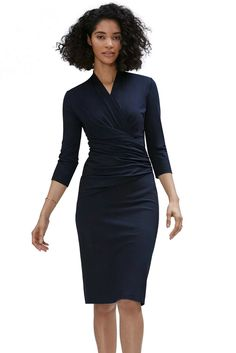 7bd92ca0750 Navy Blue Long Sleeve Pleated Wrap Midi Dress. Office DressesDresses For  WorkAffordable ...