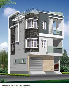 Building elevation Brick House Designs, House Main Gates Design, Modern Exterior House Designs, House Front Design, Cool House Designs, Exterior Design, 3 Storey House Design, Bungalow House Design, Flat Roof House