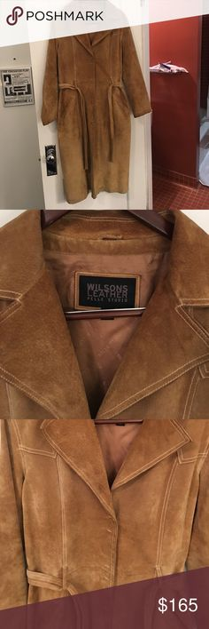 Vintage Leather Full Length Trenchcoat 100% leather full length coat from Wilson Leather.  This coat is stunning!  Gentle wear but in outstanding condition.  Size L Wilsons Leather Jackets & Coats Trench Coats