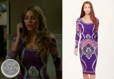 Gloria Prichett (Sofia Vergara) wears this purple print long sleeve dress in this week's episode of Modern Family.