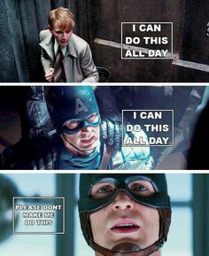 "Steve against a bully: ""I can do this all day."" Steve against Hydra: ""I can do this all day."" Steve against Bucky: ""Please don't make me do this. Marvel Dc Comics, Marvel Heroes, Marvel Avengers, Secret Avengers, Capitan America Chris Evans, Chris Evans Captain America, Captain America Quotes, Bucky Barnes, Steve Rogers"