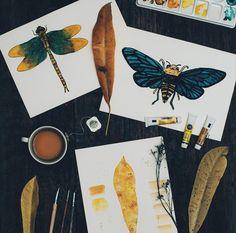 Besouros, natureza, personagens pop e dedicatórias coloridas e marcantes fazem parte dos temas pintados nas aquarelas de Lara Dias.