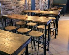 High Table Kitchen, High Bar Table, Industrial Style Dining Table, High Dining Table, Industrial Style Furniture, High Top Tables, Kitchen Island Table, Rustic Industrial, Rustic Bar Tables