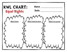 KWL Charts for MLK Day & Black History Month - 8 KWL charts focused on the following topics:  Segregation Equal Rights Black History Month Discrimination MLK Day Martin Luther King, Jr.  Racism Equality Teacher Binder, Teacher Pay Teachers, Civil Rights Movement, I Want To Know, Equal Rights, Black History Month, Martin Luther King, African American History, Teacher Newsletter