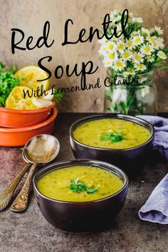 This bright and tasty Red Lentil Soup with Lemon and Cilantro will become a quick favorite in your kitchen. It comes together in very little time, and with just a few ingredients, it couldn't be easier to make. #soup #vegan #gluten Free #red lentils #lemon #cilantro #recipe Red Lentil Soup, Lentil Soup Recipes, Vegan Gluten Free, Vegan Vegetarian, Gluten Free Soup, Vegetarian Recipes, Almond Milk Pudding, Few Ingredients, Lentils