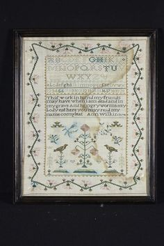 We are pleased to offer this antique embroidered sampler by Ann Wilkin dated 1799. We believe the thread is silk and that it was embroidered on off-white linen. The stitching is very fine (note the be