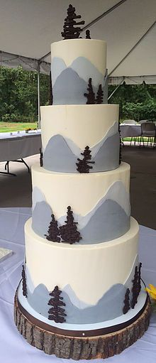 Mountains Wedding Cake - Our Wedding Cake - Mountains Wedding Bells, Our Wedding, Wedding Things, Mountain Cake, Nature Cake, Bear Cakes, Wedding Cakes, Wedding Bouquet, Baby Shower Cakes