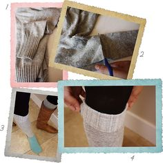Need to make these!  Then fold the sleeves of the old sweater and/or turn it into a cardigan