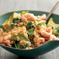Shrimp, cilantro, and avocado with brown rice. (Can also switch to chicken or fish.)