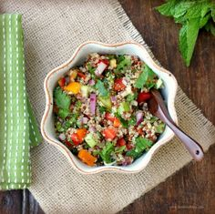 I love Tabouli! This recipe uses quinoa which is healthier and is a pretty good substitute.