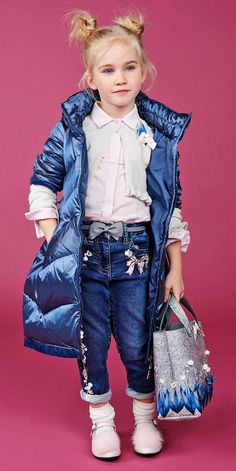 ALALOSHA: VOGUE ENFANTS: Must Have of the Day: Help her prepare for winter with this petrol-blue hooded coat & grey flower bag from Monnalisa
