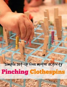 Quick and Easy Fine Motor Clothespin Activity simple fine motor activity for toddlers and preschoolers using clothespins The post Quick and Easy Fine Motor Clothespin Activity appeared first on Toddlers Ideas. Fine Motor Activities For Kids, Motor Skills Activities, Gross Motor Skills, Sensory Activities, Therapy Activities, Learning Activities, Preschool Activities, Physical Activities, Sensory Rooms