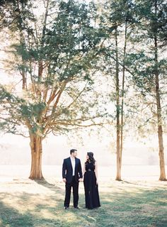 Formal Outdoor Engagement Session in a Black Gown | Wedding Sparrow | Allison Kuhn Photography