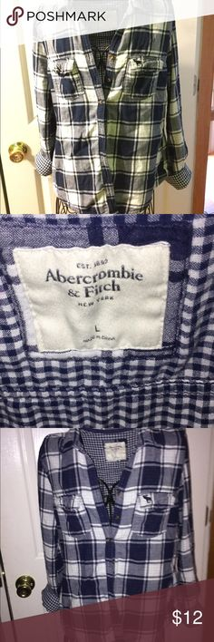 Abercrombie  and Fitch navy flannel Navy  flannel size large asking for $10 the flannel is like new I've only worn two times Abercrombie & Fitch Tops Button Down Shirts