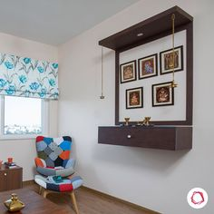 No space for a pooja room? Choose a wall-hung pooja unit instead! And no, they don't have to be boring. Don't trust us? Swipe away! Pooja Room Door Design, Home Room Design, Home Interior Design, Temple Design For Home, Mandir Design, Living Room Tv Unit Designs, Indian Home Interior, Puja Room, Home Decor Furniture
