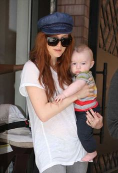 Ashlee Simpson and baby Bronx in New York city