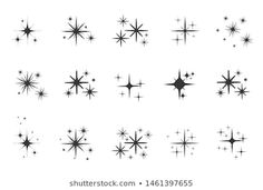 Sparkling icon set stock images, photos and vector images set vector image. Mini Tattoos, Small Star Tattoos, Body Art Tattoos, New Tattoos, Tatoos, Sleeve Tattoos, Tribal Tattoos, Arrow Tattoos, Celtic Tattoos