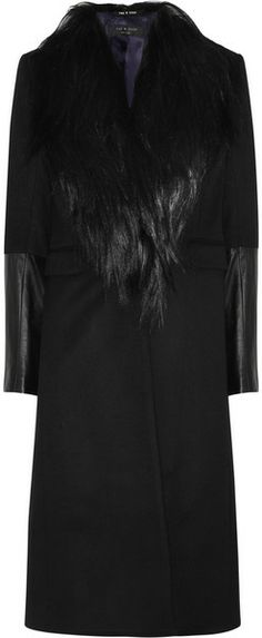 Rag & bone Scalpel Goat And Leather Trimmed Wool Coat - Lyst
