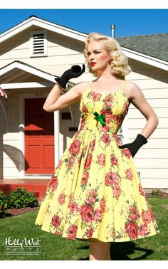 Pinup Couture - Ella Dress in Yellow and Red Rose Floral Print | Pinup Girl Clothing