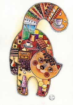 Coffee cat by Oxana Zaika